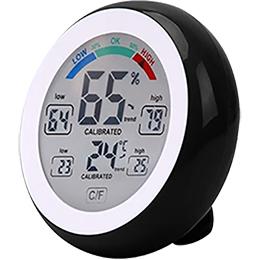 Med vores enkle hygrometer kan du nemt holde øje med både relativ luftfugtighed og temperatur den store, runde skærm